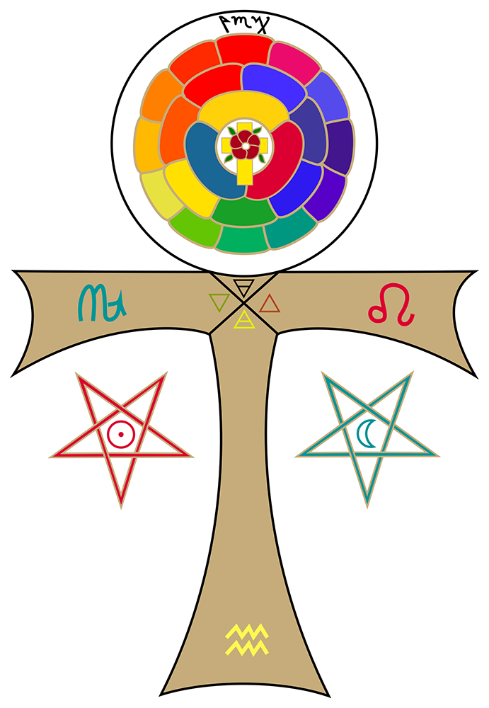 Magick: ROTA or Rose Cross Mandala with Crux Ansata from the book, Magical Theurgy