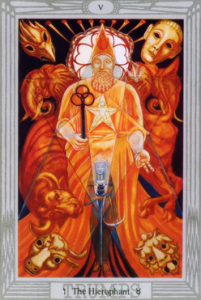 Taurus: Crowley-Harris Thoth Tarot The Hierophant V