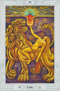 Leo the Lion-serpent of Babalon: Thoth Tarot Lust XI